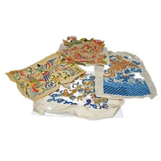 Lot of Five Unused Qing Chinese Silk Embroideries on Paper Late 19th Century