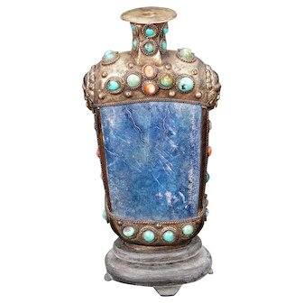 Sino Tibetan Snuff Bottle with Blue Veined Stone, Turquoise and Coral on Stand Circa 1900