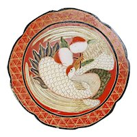 Chinese Lacquer Box with Crane and Peach early 20th Century