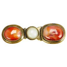 Chinese Qing Gilded Bronze Belt Buckle with Jade and Carnelian 19th Century