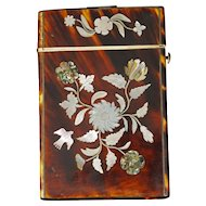 Victorian Mother of Pearl Inlay Calling Card Case Circa 1840