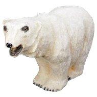Large Antique German Plush Covered Papier-mâché Polar Bear circa 1910