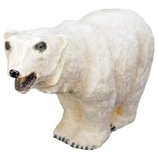 Large Antique German Plush Covered Papier-mâché Polar Bear circa 1910