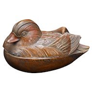 Japanese Metal Mandarin Duck Box Meiji Period