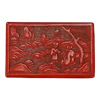 Antique Chinese Carved Cinnabar Lacquer Wood Box circa 1900