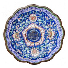 Chinese Enameled Copper Scalloped Edged Dish 19th Century