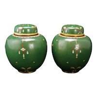 Matched Pair of Chinese Green Cloisonné Lidded Jars Circa 1900