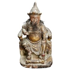 Chinese Wood Shrine Carving of General Guan Yu Circa 18th/19th Century