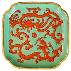 Chinese Square Enameled Red Dragon and Phoenix Gilded Bronze Dish 19th Century