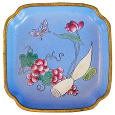 Chinese Enameled Lobed Metal Dish with Lotus, Grapes and Butterfly 19th Century