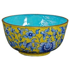Late Qing Chinese Yellow and Blue Enamel Metal Bowl Circa 1900