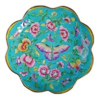 Chinese Enameled Foliate Rim Metal Dish with Butterfly Circa 1900