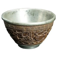 Antique Chinese Pewter and Carved Coconut Shell Cup 18/19th Century