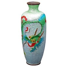 Antique Japanese Ginbari Cloisonne Vase with Dragon Design Meiji Period