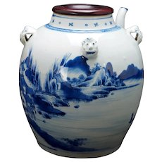 Chinese Large Porcelain Canton Blue and White Teapot Circa 18th/19th Century