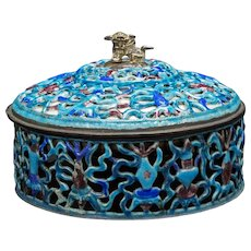 Chinese Enameled Pierced Metal Box Circa 1900