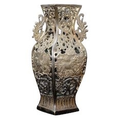 Chinese Pierced Bronze Vase with Mythical Beasts Republic Period
