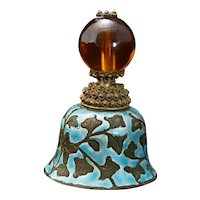 Qing Chinese Mandarin Hat Finial with Amber Peking Glass Bead