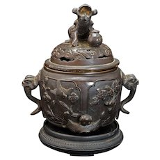 Japanese Bronze Censer with Lion Finial and Elephant Handles Meiji Period