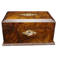 Antique Inlaid Letter Document Box 19th Century