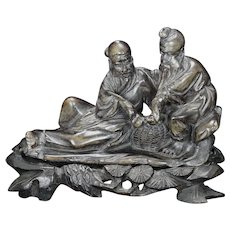 Chinese Soapstone Carving of Elders With Pipes Circa 1920