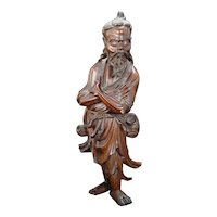 Chinese Hardwood Carving of a Daoist Immortal Figure Circa 1920