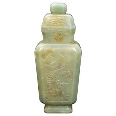 "Chinese Carved Nephrite Jade Lidded 8"" Vessel with Dragons Republic Period"