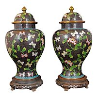 "Pair of Chinese 11 1/2"" Black Floral Cloisonné Lidded Vases Circa 1910"