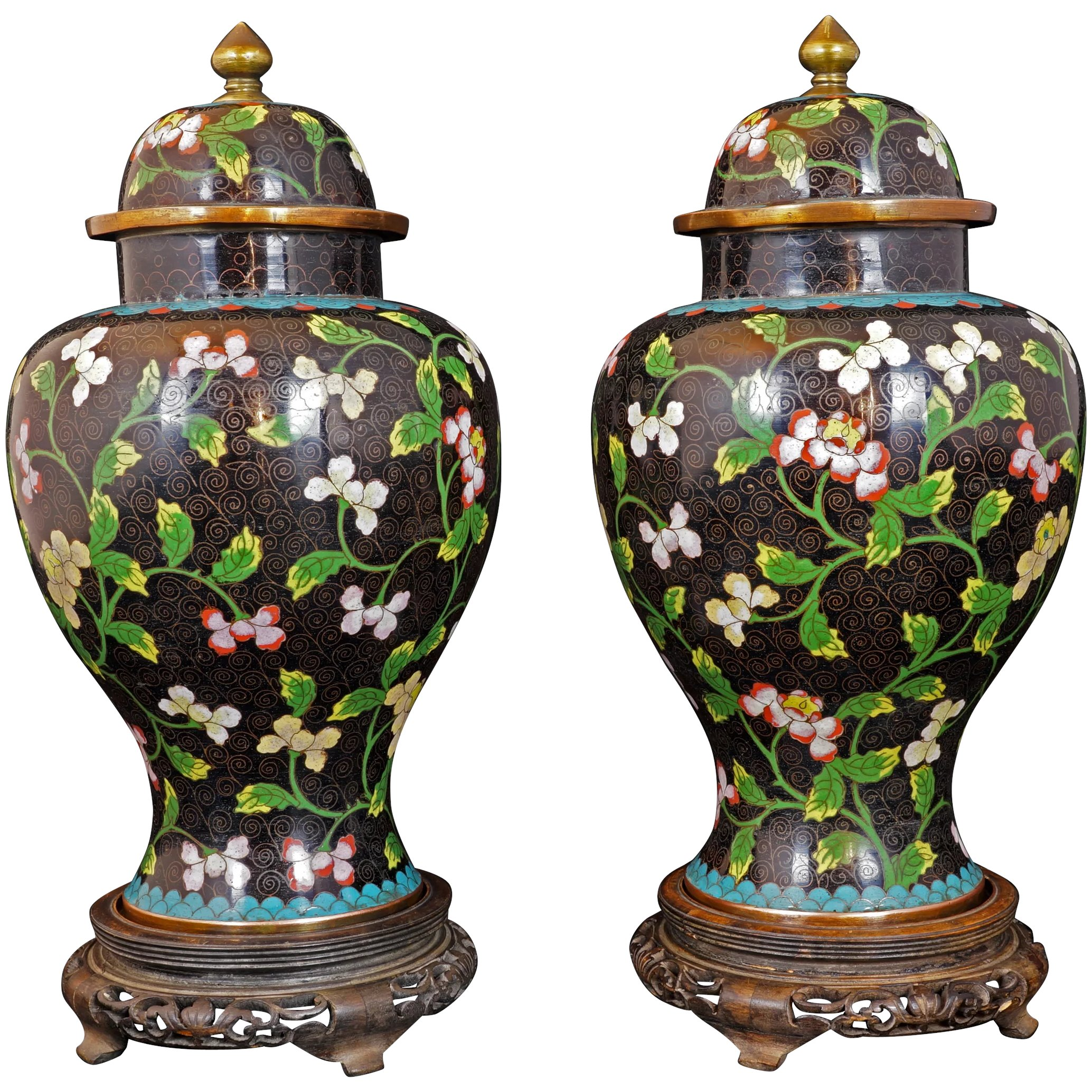 Vase Large Cloisonne Autumnal Fall Camellias Flowers Colors 1960s Chinese with Paperwork