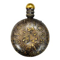 Victorian Aesthetic Movement Metal Perfume Scent Bottle for Chatelaine Late 19th century