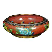 Chinese Cloisonné Brush Wash Bowl with Flowers Circa 1920