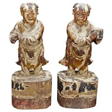 Pair Early Qing Chinese Lacquered Wood Carved Immortal Figures