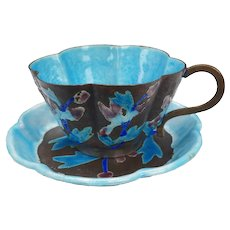 Chinese Enameled Metal Teacup and Saucer Circa 1910