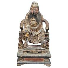 Ming Chinese Wood Figure of Guan Yu Daoist God of War