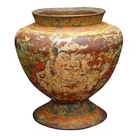 Antique Tibetan Wood Jar/Urn with Lacquer Design of Buddha and Deer