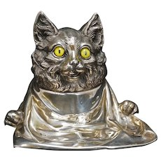 Jennings Brothers Whimsical Cat Inkwell with Glass Cats Eyes Circa 1920