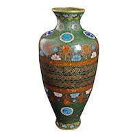 Japanese Cloisonné Vase Meiji Period with Mon Designs