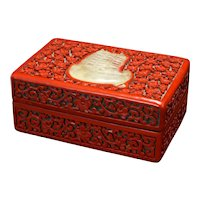 Chinese Red and Black Lacquer Cinnabar Box with Stone Inlay Circa 1900