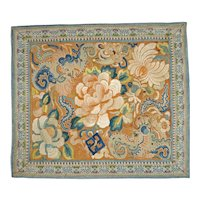 Late Qing Chinese Butterfly Silk Square Embroidery