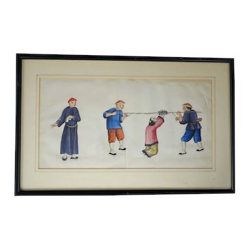 Chinese Pith Painting with Punishment Theme Early 19th Century