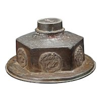 Antique Chinese 19th C Bronze Lid/Cover with Dragon Rondels
