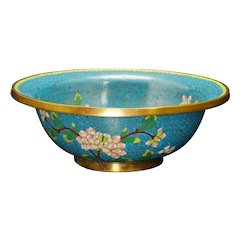 Large Chinese 19th C Cloisonné Bowl Peony Design
