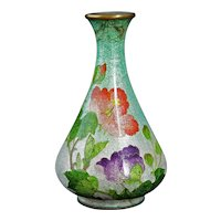 Japanese Ginbari cloisonné Vase with Rose and Peony Circa 1900