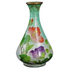 Japanese Ginbari cloisonné Vase with Rose and Peony Circa 1900