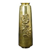 Japanese Bronze Vase with Poppy Meiji Period Circa 1900