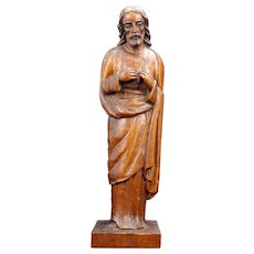 Tall Vintage Folk Art Mahogany Carved Jesus Statue