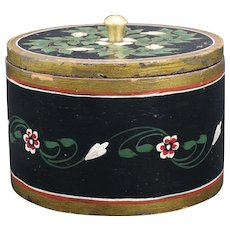 European Hand Painted Round Wooden Box with Lid Circa 1900