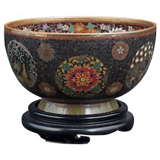 Japanese Cloisonné Dragon Bowl Meiji Period