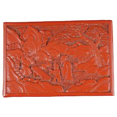 Chinese Qing Lacquer Carved Box Scholars in the Garden
