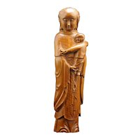 Chinese Boxwood Guanyin with Child Carving late Qing